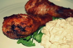 tandoori chicken and cucumber raita