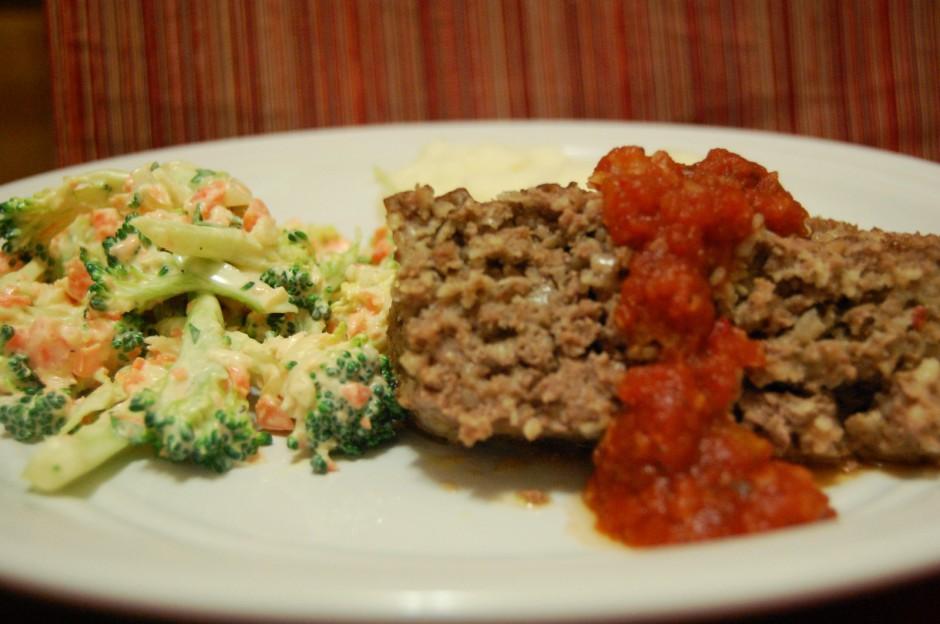 harissa meatloaf with broccoli salad
